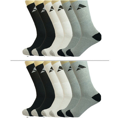 3 Pairs Mens Adi Solid Sports Athletic Work Crew Long Cotton Socks Size 10-13