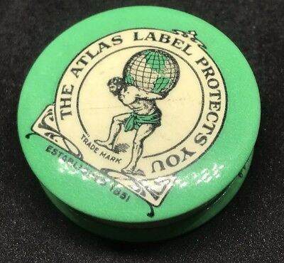Vintage ATLAS LABEL PROTECTS YOU, Extracts Celluloid Advertising Tape Measure