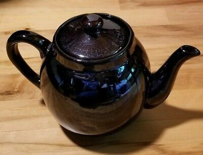 Vintage Dark Brown Crackled Glaze Porcelain Teapot w/Lid
