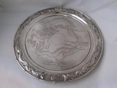 "Antique Decorative Chinese ""Dragon"" Solid Silver Salver/ Tray/ Dia 24 cm/ 428 g"