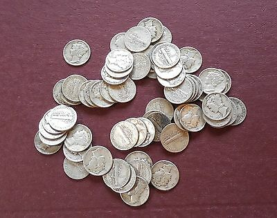 Bag of 50 - MERCURY Dimes * 90% SILVER * 91518EP1