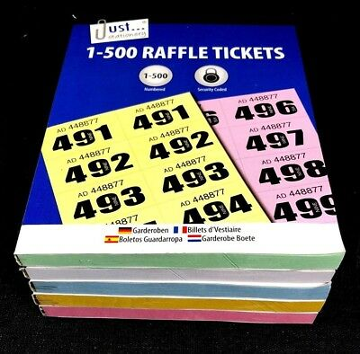 Raffle Tickets Numbered 1 - 500 NEW CHOOSE QUANTITY