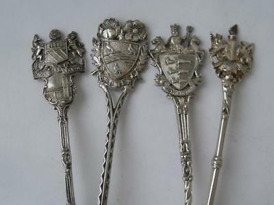 4 Nice Antique Decorative Crests Solid Sterling Silver Collectors Spoons/ 63 g