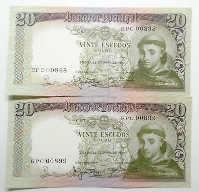 Portugal - 2 X 20$00 - 1964 - Running Numbers - Low Numbers - Aunc/unc
