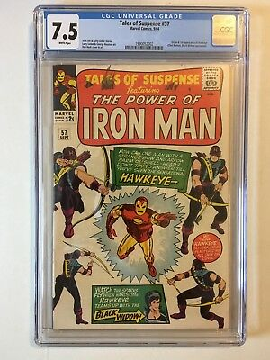 Tales of Suspense 57 CGC 7.5 (VF-) WHITE Pages, 1st Appearance + Origin Hawkeye