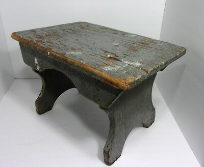 VTG Antique Small Primitive Country Blue Gray Wood Footstool Step Stool