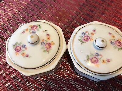 Porcelain Round Trinket Box Floral Off White Dish Lidded Covered  Jewelry Box