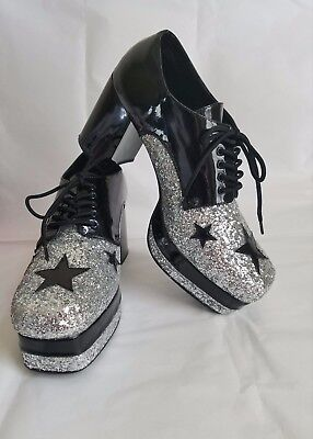 MEN'S 1970S GLITTER GLAM ROCK KISS PLATFORM SHOES 10 - 11 funtasma Disco vintage