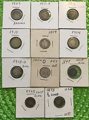 Old United States Dimes and Half Dimes  (11 coins)      #10
