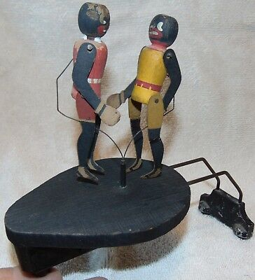 Black Americana Boxing Figures for Victrola Phonograph. National Toy c. 1915