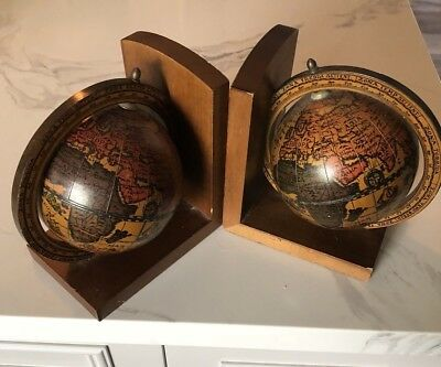 Vintage Pair Old World Map Globe Bookends Spinning / Wood Base