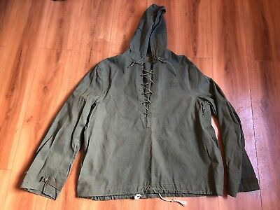 VTG 1940s WW2 WWII USN US Navy Green Deck Rain Parka Lace Up Pullover Size Small