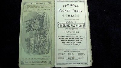 1892 Moline Plow Pocket Diary Advertising Folder Billfold Tons of Great Pictures