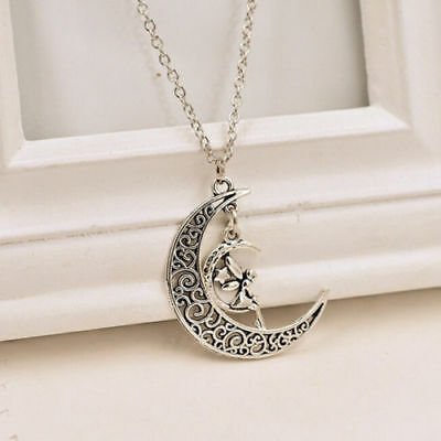 Fairy Crescent Moon and Back Necklace Star Angel Wing Charm Pendant Love Jewelry