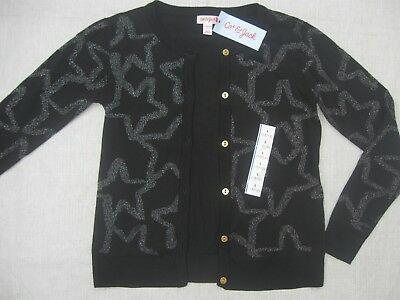 Cat & Jack Girls Cardigan Sweater Black Gold Stars and Buttons Large L 10 12