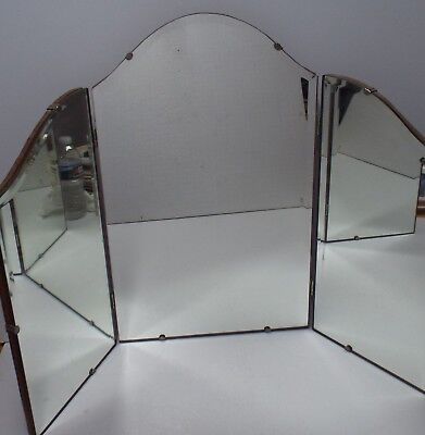Vintage 3 sided Vanity Art Deco Hanging Wall / Table w/ Beveled Folding Mirror