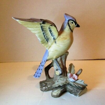 "Vtg Enesco Porcelain BIRD FIGURINE - BLUE JAY -  Hand Painted 4"" Tall Boxed"
