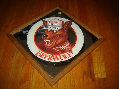Vintage Coors Light Beer Wolf Wall Mirror, 1988 Adolph Coors Co. Golden Colorado