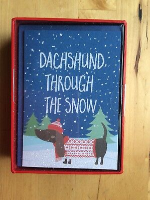 """Boxed Set of 16 """"Dachshund Through the Snow Christmas Cards"""