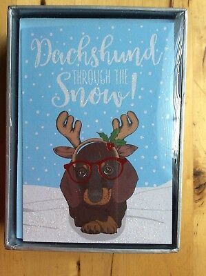 "Boxed Set of 16 ""Dachshund Through the Snow"" ""Happy Howlidays"" Christmas Cards"