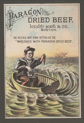 [B68443] 1880's TRADE CARD PARAGON DRIED BEEF by HENRY MAYO & CO., BOSTON, MASS.