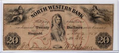 1854 $20 The State of Georgia,North Western Bank.(Ringgold).