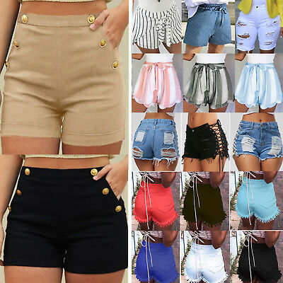 Womens High Waist Denim Jeans Shorts Hot Pants Ladies Ripped Casual Trousers AU