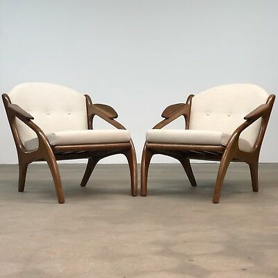 Adrian Pearsall | Pair Walnut Lounge Chairs by Craft Associates | Mid Century