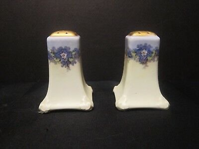 Vintage Uno Favorite Bavaria Hand Painted Salt and Pepper Shakers Gold