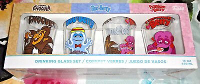 FUNKO MONSTER CEREAL DRINKING GLASS SET 16oz COUNT CHOCULA FRANKEN BOO BERRY NEW