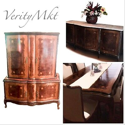 9PC ANTIQUE FRENCH LOUIS STYLE DINING FURNITURE Table Chairs Buffet Cabinet Set