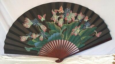 """Large Hand Painted Oriental Style Silk & Wood Wall Fold Out Fan 60"""" x 30"""""""