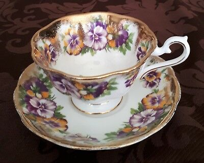 Royal Albert Bone China Tea Cup and Saucer Purple Yellow Pansy Flower Gold Trim