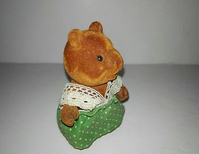 Forest Families child Bear With green dress (Barenwald Sylvanian Families) Rare