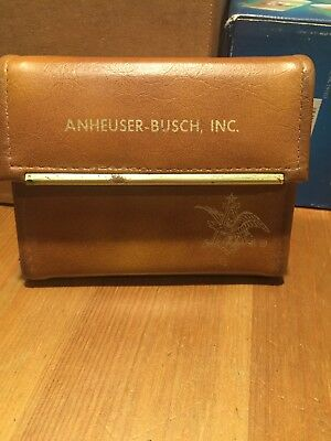 """1981 Sales Convention Anheuser-Busch Beer """"leather"""" Case, Cards, and Pad"""