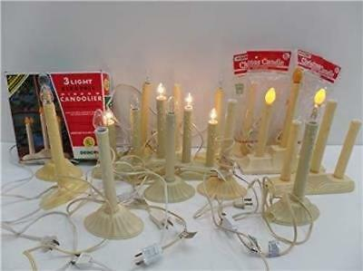 Beacon Candle Candolier Tier Lights Xmas 5 Light 3 Singles Mantel Lot of 17 Vtg
