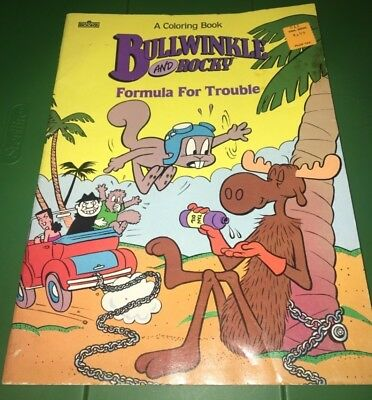 Vintage ROCKY AND BULLWINKLE Marvel Coloring Book UNUSED 1987 story book
