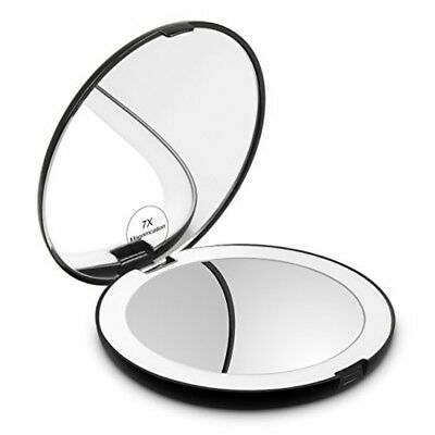 Herwiss Lighted Travel Makeup Mirror, 1x HD 7x Magnifying Folding Hand Held Comp