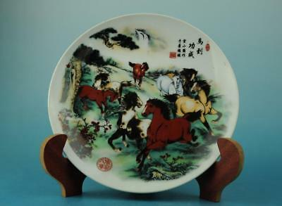 Chinese antique famille rose porcelain Hand painted horse pattern plate b01