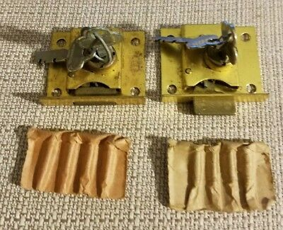 Vintage Corbin Mortise Drawer Cabinet Locks With Keys Lot Of 2 Matching Locks L2