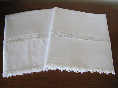 Vintage Pair of Pillowcases All White & White Double Tatted Fancy Trim