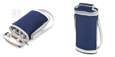 Greenfield Collection Duo Navy Blue Wine Cooler Bag