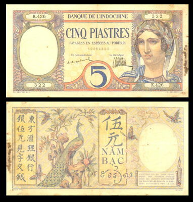 French Indochina 5 piastres 1926 P-49a VF