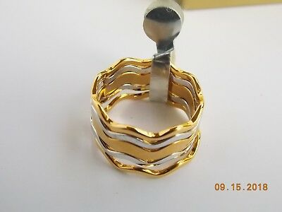 AVON FASHION WAVES 1978 FIVE RING SET, UNUSED, Sz 9, GOLD and SILVER TONE
