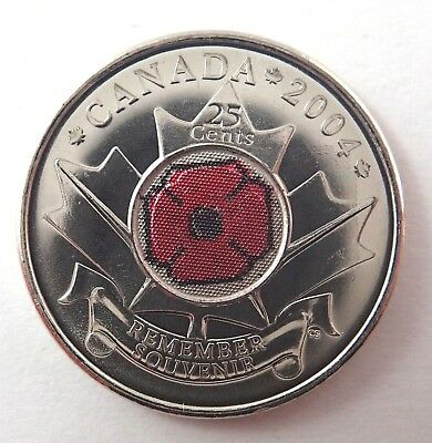 Canada   2004  Twenty Five Cent Coin  -  Remembrance Red Poppy - Uncirculated