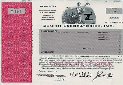 Zenith Laboratories Inc.. New Jersey, 1990 (26 Shares)