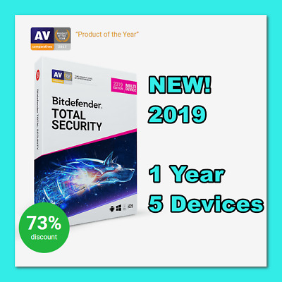 [NEW!] KEY Bitdefender Total Security Multi-Device 2019,2018: 1 year, 5 devices