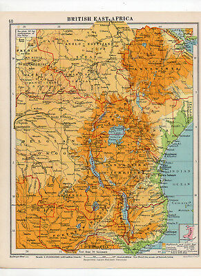 C1930 Antique Map Of British East Africa George Philip & Sons