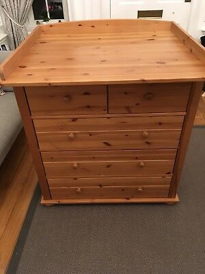 Stunning John Lewis solid chest of drawers with baby changing unit top
