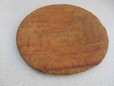 Old Antique Primitive Wooden Round Plate